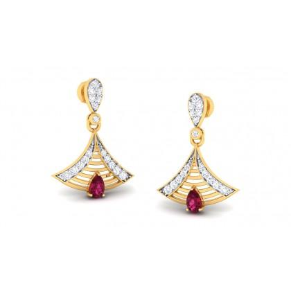 ARTI DIAMOND DROPS EARRINGS in Ruby & 18K Gold