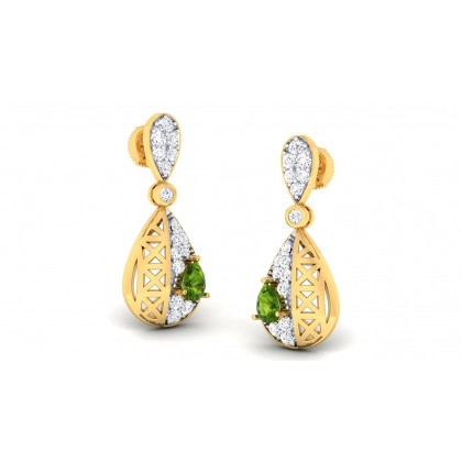 SARADA DIAMOND DROPS EARRINGS in Emerald & 18K Gold
