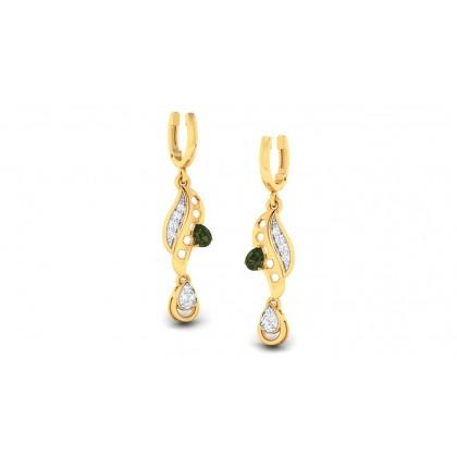 SAMA DIAMOND DROPS EARRINGS in Emerald & 18K Gold