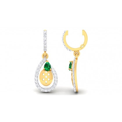 ZARNA DIAMOND DROPS EARRINGS in Emerald & 18K Gold