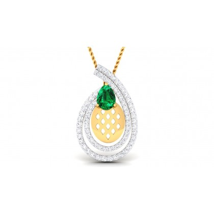 DEVANGI DIAMOND FASHION PENDANT in Emerald & 18K Gold