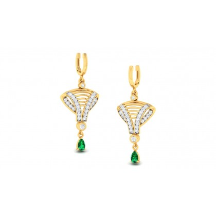 REBEKAH DIAMOND DROPS EARRINGS in Emerald & 18K Gold