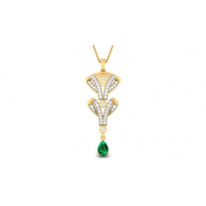 TANAYA DIAMOND FASHION PENDANT in Emerald & 18K Gold