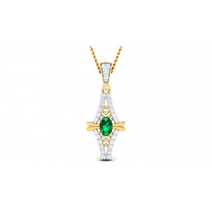 SYLVIA DIAMOND FASHION PENDANT in Emerald & 18K Gold