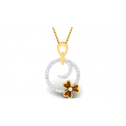 ANJUM DIAMOND FLORAL PENDANT in 18K Gold