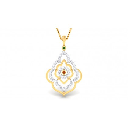 NUSHI DIAMOND FLORAL PENDANT in 18K Gold