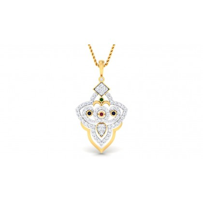 HARSIKA DIAMOND FLORAL PENDANT in 18K Gold
