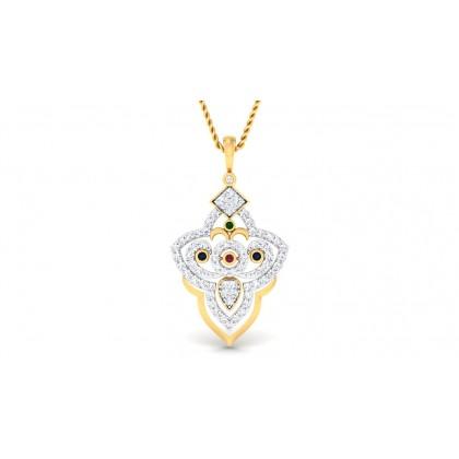 HARSIKA DIAMOND FLORAL PENDANT in 18K Gold