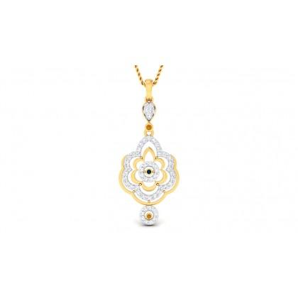 NOELANI DIAMOND FLORAL PENDANT in Sapphire & 18K Gold