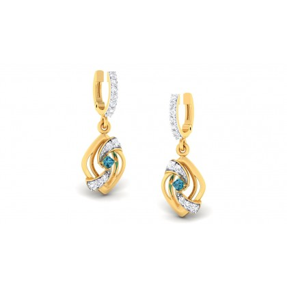 TRIYA DIAMOND DROPS EARRINGS in Sapphire & 18K Gold