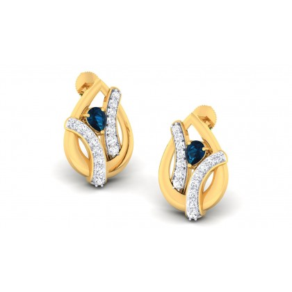 SONIA DIAMOND STUDS EARRINGS in Sapphire & 18K Gold