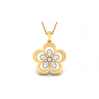 ASHLYN DIAMOND FLORAL PENDANT in 18K Gold