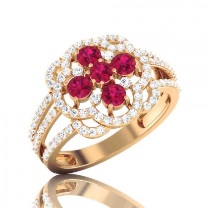 TALIYAH DIAMOND COCKTAIL RING in Ruby & 18K Gold
