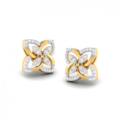 TANZIL DIAMOND STUDS EARRINGS in 18K Gold