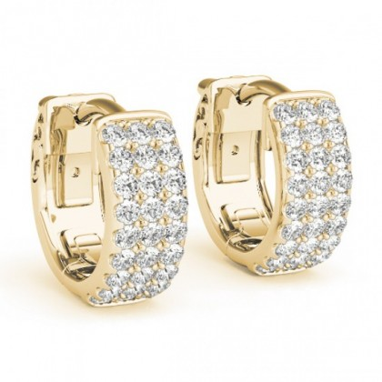 MARINA DIAMOND HOOPS EARRINGS in 18K Gold