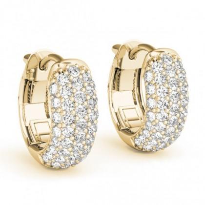AISLIN DIAMOND HOOPS EARRINGS in 18K Gold
