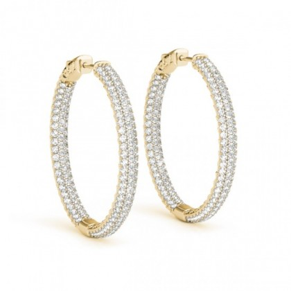 JORDAN DIAMOND HOOPS EARRINGS in 18K Gold