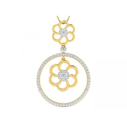 CHARLENA DIAMOND FLORAL PENDANT in 18K Gold