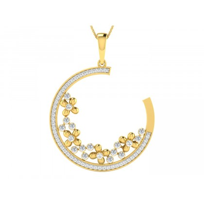 DELPHINE DIAMOND FLORAL PENDANT in 18K Gold