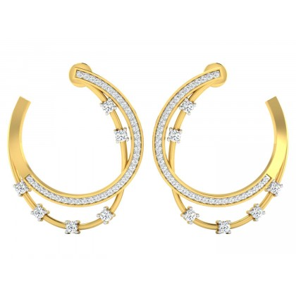 ALLIE DIAMOND HOOPS EARRINGS in 18K Gold