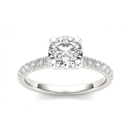 SHANTI DIAMOND SOLITAIRE RING in Cubic Zirconia & 18K Gold