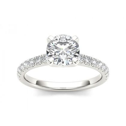 SHANTI DIAMOND SOLITAIRE RING in Cubic Zirconia & 18K Gold