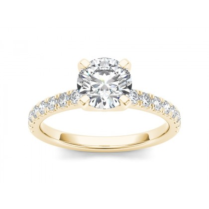 CARLENA DIAMOND SOLITAIRE RING in Cubic Zirconia & 18K Gold