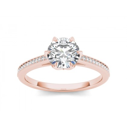 KATHEY DIAMOND SOLITAIRE RING in Cubic Zirconia & 18K Gold
