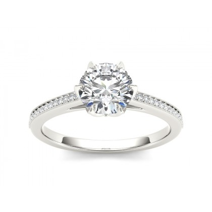 GWENDA DIAMOND SOLITAIRE RING in Cubic Zirconia & 18K Gold