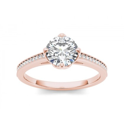 SIBYL DIAMOND SOLITAIRE RING in Cubic Zirconia & 18K Gold