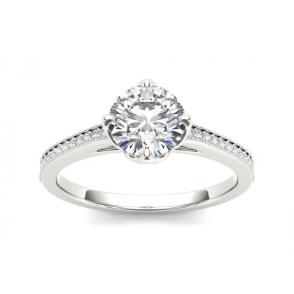 MERIDITH DIAMOND SOLITAIRE RING in Cubic Zirconia & 18K Gold