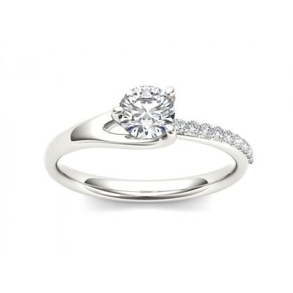 MATHILDA DIAMOND SOLITAIRE RING in Cubic Zirconia & 18K Gold