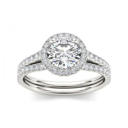 FLORENE DIAMOND SOLITAIRE RING in Cubic Zirconia & 18K Gold