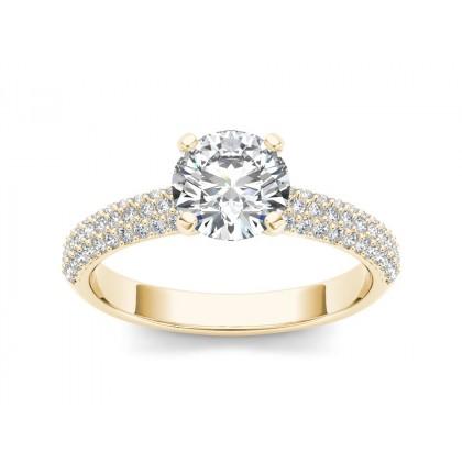 KIYOKO DIAMOND SOLITAIRE RING in Cubic Zirconia & 18K Gold