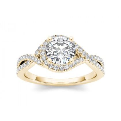 MURIEL DIAMOND SOLITAIRE RING in Cubic Zirconia & 18K Gold