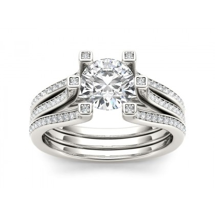 KAYLA DIAMOND SOLITAIRE RING in Cubic Zirconia & 18K Gold
