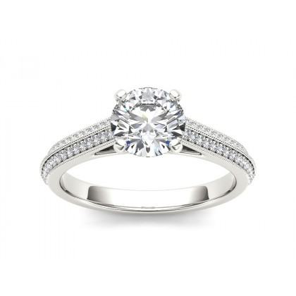 EARLEEN DIAMOND SOLITAIRE RING in Cubic Zirconia & 18K Gold