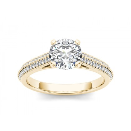 CHRISSY DIAMOND SOLITAIRE RING in Cubic Zirconia & 18K Gold