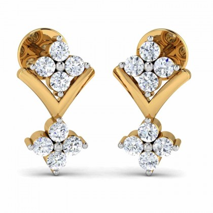 ASHLEIGH DIAMOND STUDS EARRINGS in 18K Gold