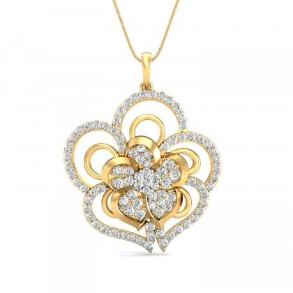PEARLENE DIAMOND FLORAL PENDANT in 18K Gold