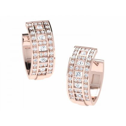 MARIAH DIAMOND HOOPS EARRINGS in 18K Gold