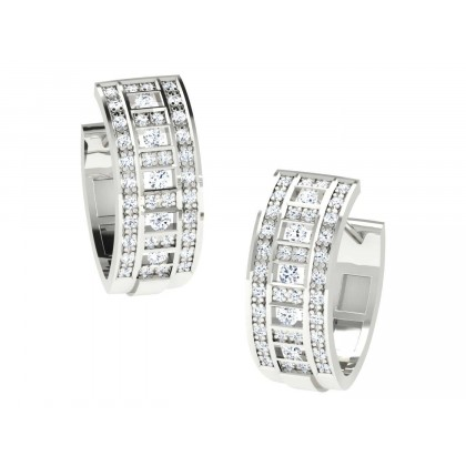 CARLETTA DIAMOND HOOPS EARRINGS in 18K Gold