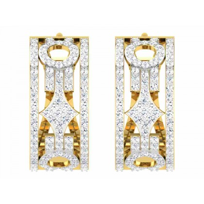TIFFINY DIAMOND HOOPS EARRINGS in 18K Gold