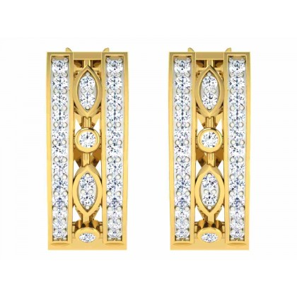 KRYSTINA DIAMOND HOOPS EARRINGS in 18K Gold