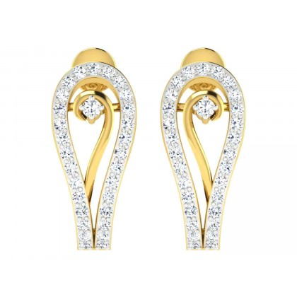 LYNDIA DIAMOND HOOPS EARRINGS in 18K Gold