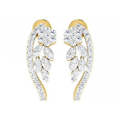 KERRI DIAMOND HOOPS EARRINGS in 18K Gold