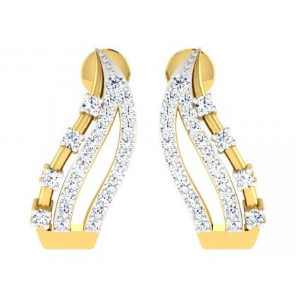 BARBERA DIAMOND HOOPS EARRINGS in 18K Gold