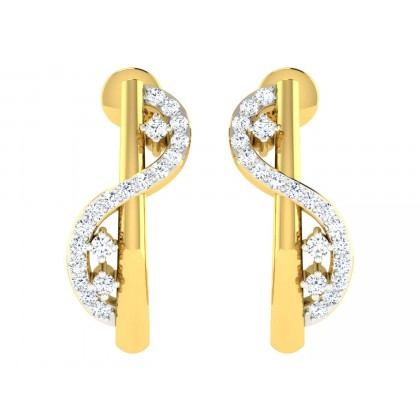ETHELYN DIAMOND HOOPS EARRINGS in 18K Gold