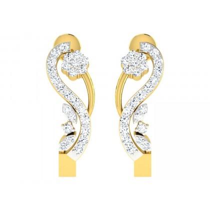 MERIDETH DIAMOND HOOPS EARRINGS in 18K Gold
