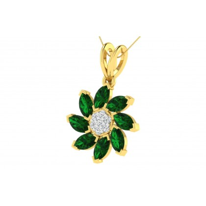 MINNIE DIAMOND FASHION PENDANT in Emerald & 18K Gold
